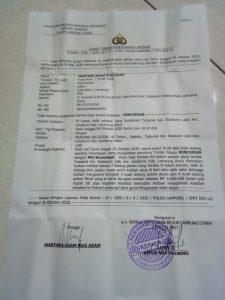 Surat laporan dugaan tindak pidana pencurian yang dilakukan oleh Murdani
